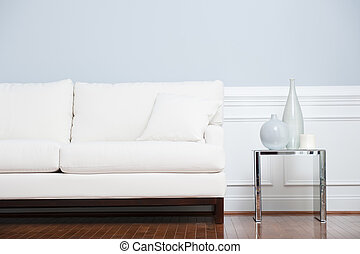 青, 端, 壁, ソファー, に対して, ガラステーブル, 白