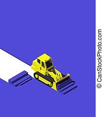 青, 等大, 押す, illustration., ground., 現代, ブルドーザー, 黄色, 建設, poly, 車, スタイル, 低い
