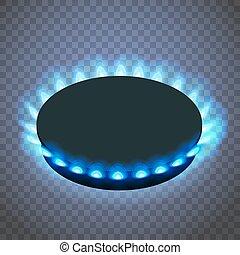 青, 等大, 暖炉内部の棚, バーナー, ガス, ∥あるいは∥, バックグラウンド。, ベクトル, flame., 透明