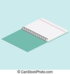 青, 等大, 背景, binding., イメージ, らせん状に動きなさい, イラスト, ベクトル, notebook., 開いた, illustration.