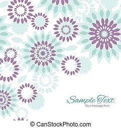 青, 紫色, パターン, 抽象的, ベクトル, 背景, 花, コーナー, フレーム