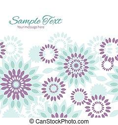 青, 紫色, パターン, 抽象的, seamless, ベクトル, 背景, 花, 横, フレーム