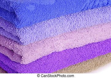 青, 紫色, 山, タオル