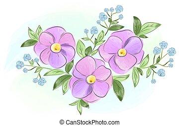 青, 紫色, 葉, 花, 水彩画