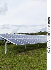 青, 細胞, フィールド, siliciom, 太陽, 代替エネルギー