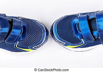 青, 終わり, スポーツの靴, 。