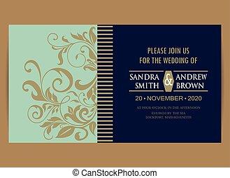 青, 結婚式, 海軍, 招待, 花, カード