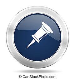 青, 網, ピン, モビール, app, イラスト, 金属, 暗い, インターネットアイコン, ボタン, ラウンド