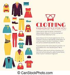 青, 網, プロダクト, ファッション, 背景, アイコン, モビール, concept., ∥あるいは∥, 長い間, あなたの, ベクトル, デザイン, イラスト, テンプレート, infographics, applications., 影, 平ら, 衣類, デザイン