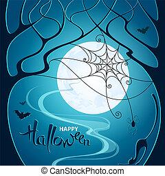 青, 網, ポスター, カード, くも, 木, ハロウィーン, 挨拶, イラスト, 月, 暗い, バックグラウンド。, ベクトル, コウモリ, 招待, パーティー, ねこ, night.