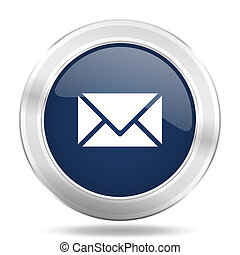 青, 網, モビール, app, イラスト, 金属, 暗い, インターネットアイコン, ボタン, 電子メール, ラウンド