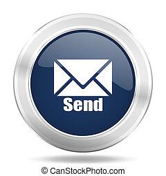青, 網, モビール, app, 送りなさい, 金属, 暗い, イラスト, インターネットアイコン, ボタン, ラウンド