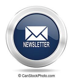 青, 網, newsletter, モビール, app, イラスト, ボタン, 暗い, インターネットアイコン, 金属, ラウンド