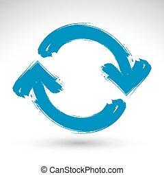青, 繰り返し, 単純である, マルチメディア, 更新, 新たにしなさい, 隔離された, 背景, ブラシ, 手, シンボル。, 引かれる, 白, 印, ナビゲーション, 図画, icon., 手 - ペイントされた
