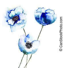 青, 美しい, 花