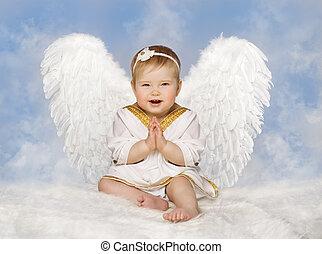青, 翼, 天使, 天使, 子供, 空, キューピッド, 生まれる, 折られる, 子供, 手, 赤ん坊, 新しい, よちよち歩きの子, 雲, 握りしめられる
