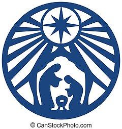 青, 聖書, シルエット, 神聖, 家族 場面, イラスト, バックグラウンド。, ベクトル, キリスト教徒, 白, アイコン