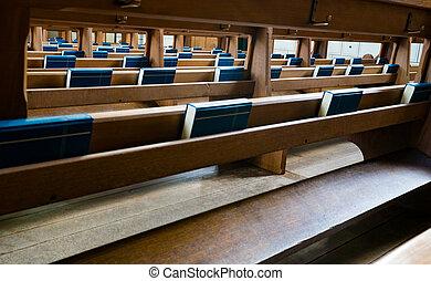 青, 聖書, 木製である, 多数, フォーカス, 席, 精選する, 教会, 光景