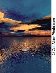 青, 肖像画, 空, 日の出, 黄色