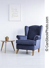 青, 肘掛け椅子, サイドテーブル