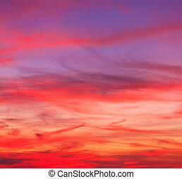 青, 背景, 雲, 日没の 空