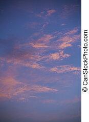 青, 背景, 雲, 日没, 空