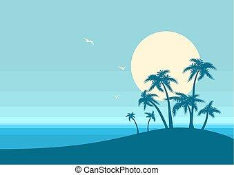 青, 自然, 島, 海洋, トロピカル, バックグラウンド。, ベクトル, テキスト, ポスター, 海景