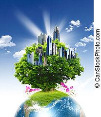 青, 自然, 空, に対して, 惑星, 緑, きれいにしなさい