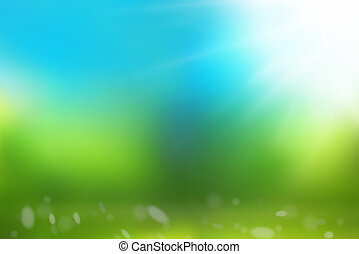青, 自然, 空, 緑の背景, 草