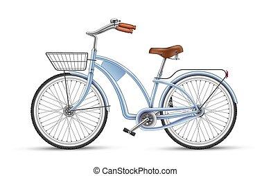 青, 自転車, 隔離された, 現実的, ベクトル, 3d