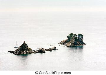 青, 航空写真, スペース, 海, 島, コピー, 光景