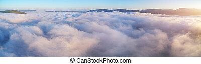 青, 航空写真, 空, 雲, 白, morning., 光景