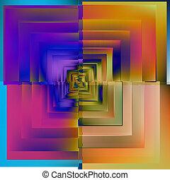 青, 色, パターン, バックグラウンド。, vector., モザイク