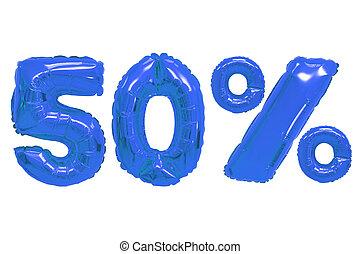 青, 色, パーセント, 50, 暗い, 風船