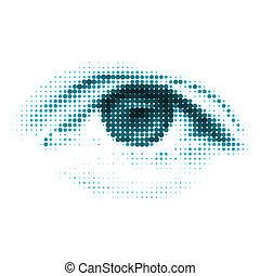 青, 色, 人間, デジタル, eye., eps, 8