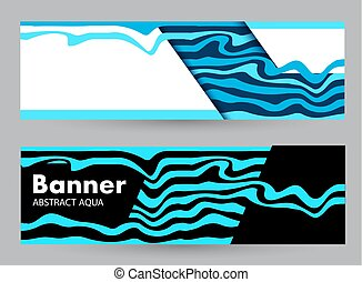 青, 色, 暗い, バックグラウンド。, 波, 水平なバナー