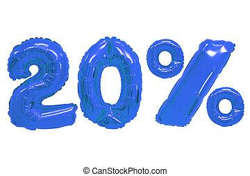 青, 色, 20, パーセント, 暗い, 風船