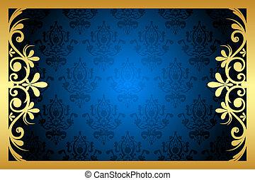 青, 花, フレーム, ベクトル, 金