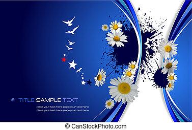 青, 花, ベクトル, イラスト, バックグラウンド。