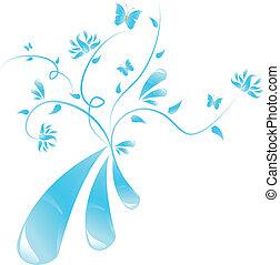 青, 花, 抽象的なデザイン
