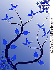 青, 花, 抽象的, 背景