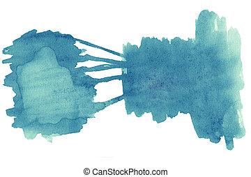 青, 芸術, カラフルである, ペイントされた, 抽象的, 創造性, 手ざわり, 手, 水彩画, バックグラウンド。, ペーパー, デザイン, 水彩画, 背景, 波, 白, stain.