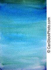 青, 芸術, ペイントされた, ライト, 手, 水彩画, 背景