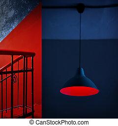 青, 芸術, 組合せ, 抽象的, collage., 詳細, 最小である, 内部, 赤
