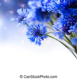 青, 芸術,  cornflowers, 野生, デザイン, 咲く, 花, ボーダー