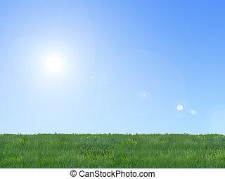 青, 草, 空, 背景