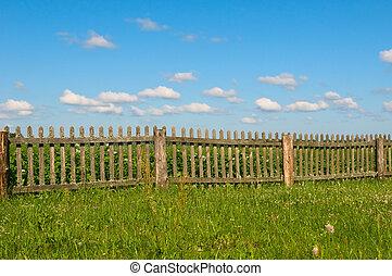 青, 草, 緑の空, フェンス