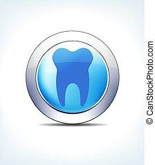 青, 薬, &, 歯, ボタン, 歯, ヘルスケア, アイコン, 歯科医, 薄い, シンボル