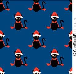 青, 藍色, santa, seamless, ねこ, 黒い背景, 帽子
