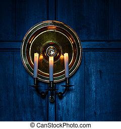 青, 蝋燭, 背景, 木製である